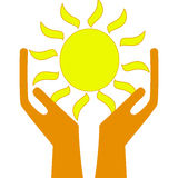 A sun in hands on a white background Royalty Free Stock Image