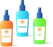 Sun Happiness and joy vector bottles Royalty Free Stock Photo