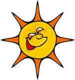 Sun Happy. Color cartoon artwork line-art vector illustration