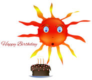 Sun happy Birthday cake. Sun cake happy Birthday blow out the candles holiday Royalty Free Stock Photos