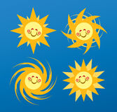 Sun Happy Face. Vector design of four suns with happy face vector illustration