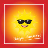 Sun. Happy summer! poster sun with sunglasses, smile. Sun on red background Vector illustration  For Weather forecast interface design Season banner Stock Photo