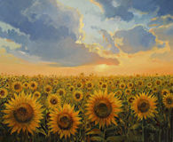Sun Harmony. An oil painting on canvas of a breathtaking sunset with a sunflower field. Colorful rural landscape lit by the warm light of the last hours of the Royalty Free Stock Photography