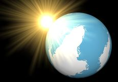 The sun has looked out because of a planet. The sun has looked out because of mother Earth Stock Photos