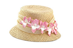 Sun Hat. Straw Sun hat With Pink Flowers stock images