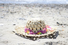 Sun hat. Female sun hat on the beach Stock Photos