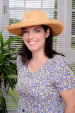 Sun Hat. Beautiful Brunette Young Woman Wearing A Straw Sun Hat stock images