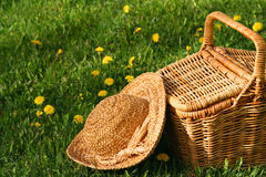 Sun hat and basket. Summer hat and wicker basket on the grass Royalty Free Stock Photo