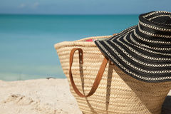 Sun hat on the beach bag Stock Image