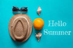 Sun hat glasses and shells stock photography