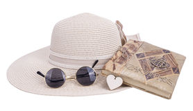 Sun hat with sunglasses and notebook Stock Photography