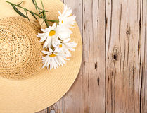 Sun hat on wooden plank Royalty Free Stock Images