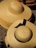 Sun hats. Two piles of sun hats Stock Photo