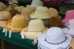 Sun Hats on a Market Stall. Royalty Free Stock Photo