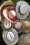 Sun hats, mix colors. Some sun hats for holidays, Indonesia Bali Ubud royalty free stock image