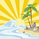 Sun, hav och palmträd stock illustrationer