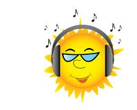 Sun with headphones Royalty Free Stock Image
