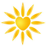 Sun heart logo. Cute sun company logo illustration / clipart isolate Stock Photo