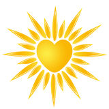 Sun heart logo. Cute sun company logo illustration / clipart isolate Royalty Free Stock Photos