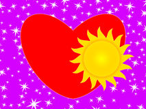 Sun and heart Stock Image