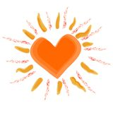 Sun with heart, vector Stock Images