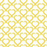 Sun Hearts Seamless Pattern Background. Yellow heart lacy frames wallpaper pattern background. Seamless texture background Royalty Free Stock Images
