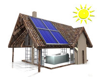Sun heater. House and panels solar energy Royalty Free Stock Photo