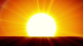 Sun hermoso que sube sobre horizonte animación 3d de la salida del sol HD 1080 stock de ilustración