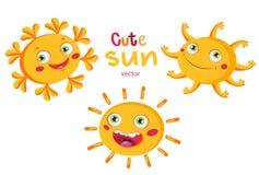 Sun heureux Placez la bande dessinée Sun différent Illustration de vecteur sur le fond blanc Les soleils souriants heureux drôles Images libres de droits