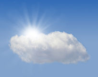 Sun hiding behind the cloud Royalty Free Stock Image