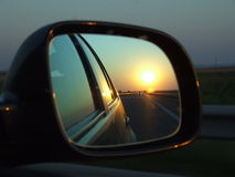 Sun highway. Admiring the sunset from the car on the sun highway Stock Photo