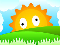Sun Hill. The sun look at you from behind the hill stock illustration