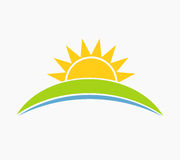 Sun and hill landscape symbol Stock Photo