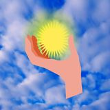 Sun in his hand Royalty Free Stock Photo