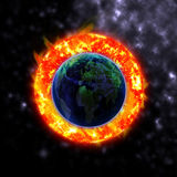 The sun hits the planet Elements. Of this image furnished by NASA Stock Photos