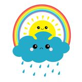 Sun holding cloud, rainbow set. Rain drop weather. Smiling and sad face. Friends forever. Fluffy clouds. Cute cartoon cloudscape. royalty free illustration