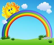 Sun holding rainbow on blue sky stock illustration