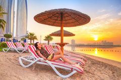 Sun holidays on the beach of Persian Gulf Stock Image