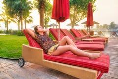 Sun holidays on the beach of Persian Gulf Royalty Free Stock Photo
