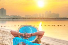 Sun holidays on the beach of Persian Gulf. Abu Dhabi Royalty Free Stock Image