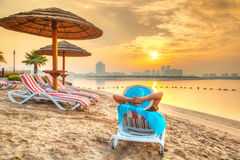 Sun holidays on the beach. Of Persian Gulf, United Arab Emirates Stock Image