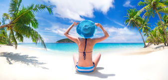 Sun holidays on the tropical beach Royalty Free Stock Image