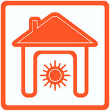 Sun in home - heating in house symbol Stock Images