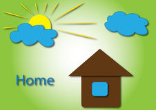 Sun with home logo Royalty Free Stock Photos