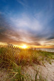 Sun on the horizon at beach. Sun rises over the dunes and a collapsing wooden fence on a Maine beach Stock Images