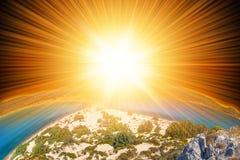 Sun i ziemia fotografia royalty free