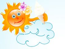 Sun with ice cream Royalty Free Stock Photo
