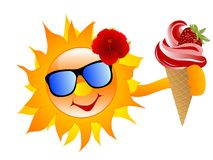 Sun with ice cream Stock Images