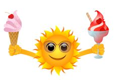 Sun with ice cream. Vector illustration of happy sun offering two ice creams Stock Photos