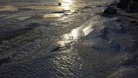 Sun in the ice. Ice on lake erie Royalty Free Stock Images